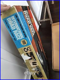 1967 Eldon 1/24 Slot Car Set Cars Track Ramp Supports Controllers With Orig Box