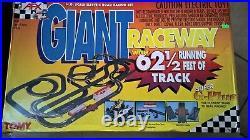 AFX Tomy SUPER Giant Raceway Track HO Slot Car Set Track Complete w Cars
