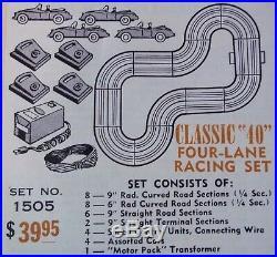 AURORA MODEL MOTORING VIBRATOR #1505 SUPER HO SLOT TRACK RACE SET 4 Cars TJET