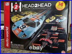 Autoworld Head 2 Head 14ft race set new in box ho slot car race track fits tomy