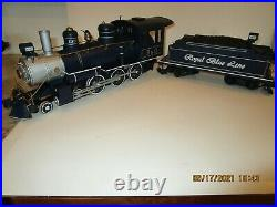 Bachmann G Scale Royal Blue Train Set 90016 Loco/tender/2 Cars Complete