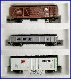 Bachmann N Scale LONG HAULER Train Set # 4406 2 Locomotives & 6 Cars, Track