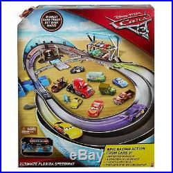 Disney Pixar Cars 3 Ultimate Florida Speedway Track Set Race Lightning McQueen