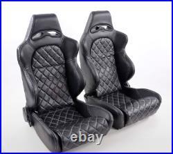 FK Automotive Full Bucket Sports Seat Set Pair Black Kit Race Track Car Audi RS