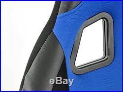 FK Automotive Full Bucket Sports Seat Set Pair Blue Kit Race Track Car Harness