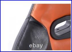 FK Automotive Full Bucket Sports Seats Set Pair Black Kit Race Track Car Orange