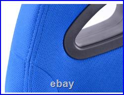 FK Automotive Full Bucket Sports Seats Set Pair Blue Kit Race Track Car Harness