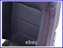 FK Bucket Sports Seats Set Black Carbon Faux Leather Red Stitch Kit Track Car