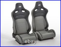 FK Bucket Sports Seats Set Pair Black Grey Carbon Back Custom Kit Race Track Car
