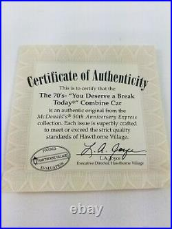 HAWTHORNE VILLAGE MCDONALDS TRAIN SET With TRACKS & CERTIFICATES FOR EACH CAR
