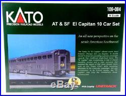 KATO New 2020 N Scale Santa Fe El Capitan 10 Car Set With Track 106084