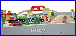 Kids Wooden Activity White Table and 90 Piece Train Set Car Track + Accessories