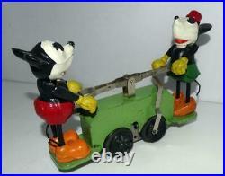 Rare Nm! Greenvs. Disney 1934 Lionel Mickey Mouse Hand Car+2 Pc. Boxed Set+track