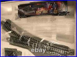 TOS Star Trek HO train set, Locomotive, 18 Cars, Track, Controls, Ship Carrier