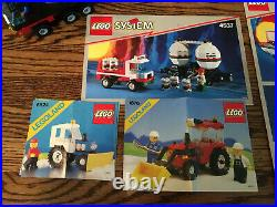 TWO Vintage Lego Train Sets 4565 4563 extra track cars tractors switches