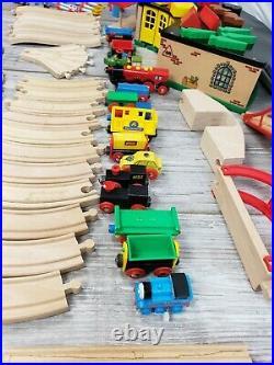 Thomas The Tank Engine Train Set Wooden Tracks Brio HUGE LOT 125 Pieces Vintage