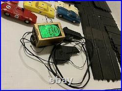 VTG 1960s Eldon 7 Slot Cars Set Track parts Controllers power pack bodies Lot