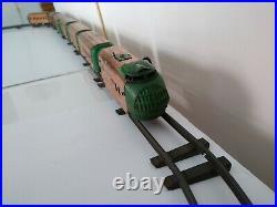 Vintage Antique 1930s Hafner 7 Car Wind-up Copper Train Set with Track Pre-War